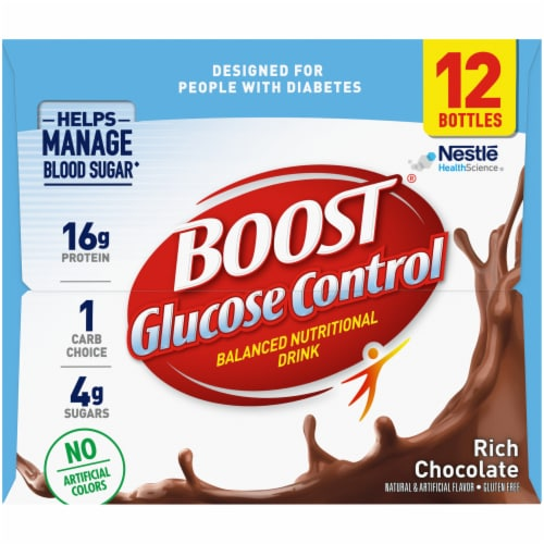 Boost Glucose Control Rich Chocolate Balanced Nutritional Drink 12 Count Perspective: left