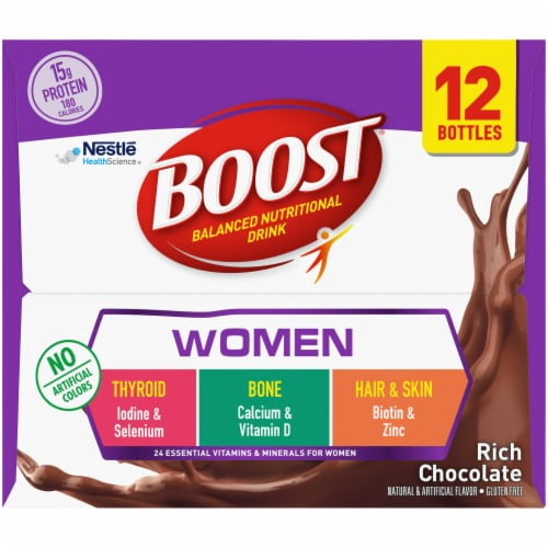 Boost Rich Chocolate Women's Balanced Nutritional Drink Perspective: left