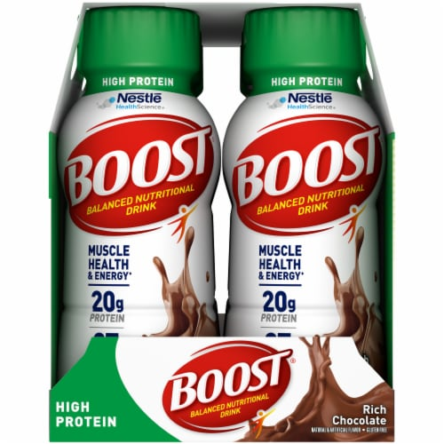 Boost High Protein Rich Chocolate Nutritional Drink Perspective: left