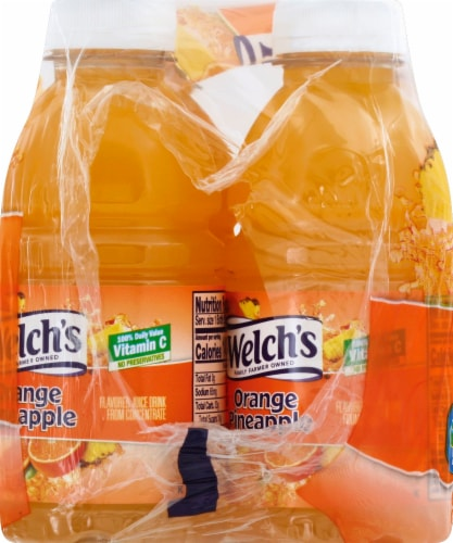 Welch's Orange Pineapple Juice 6 Bottles Perspective: left