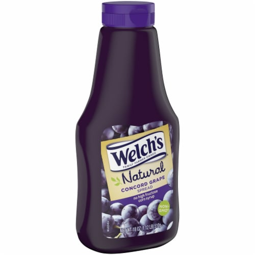Welch's Natural Concord Grape Spread Sqeeze Bottle Perspective: left
