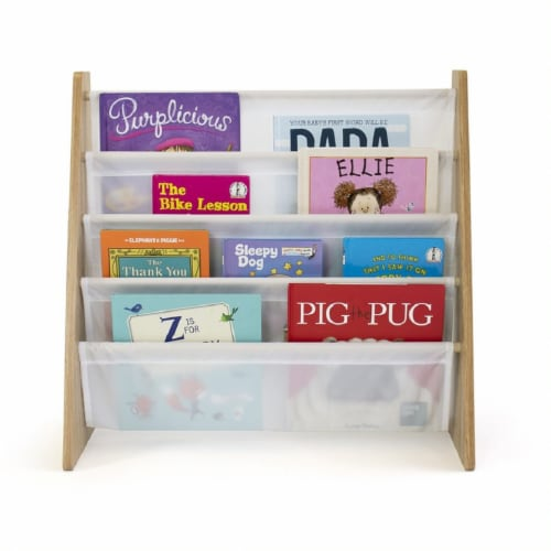 Humble Crew Journey Natural Kids Bookshelf 4 Tier Book Organizer Perspective: left