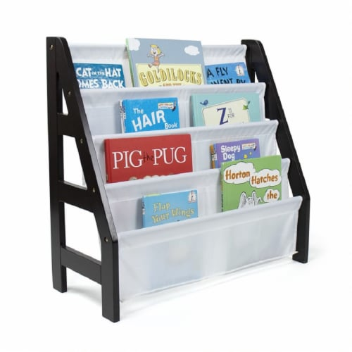 Humble Crew Espresso Ladder Kids Bookshelf 4 Tier Book Organizer Perspective: left