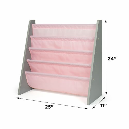 Humble Crew Kids Sophie Bookshelf 4 Tier Book Organizer - Pink Perspective: left