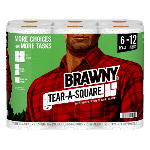 Brawny® Tear-A-Square Double Paper Towel Rolls Perspective: left