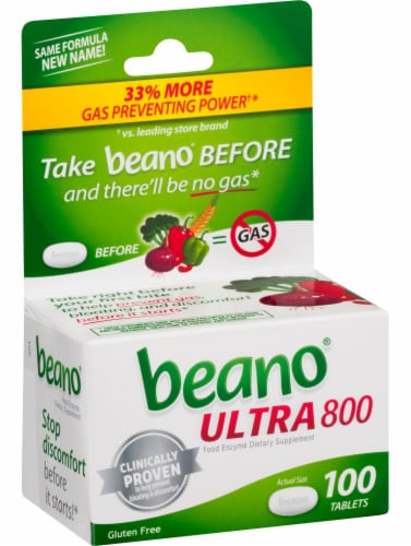 Beano Ultra 800 Food Enzyme Dietary Supplement Tablets 100 Count Perspective: left