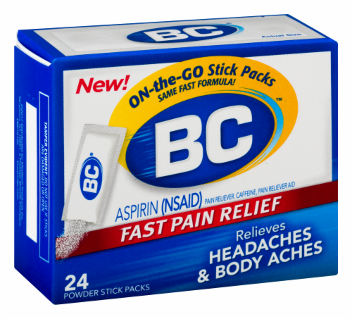 BC Aspirin Headache Fast Pain Relief Powders 24 Count Perspective: left