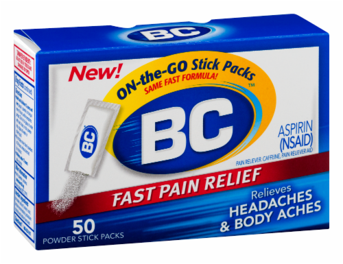 BC Fast Pain Relief Aspirin Powders Perspective: left