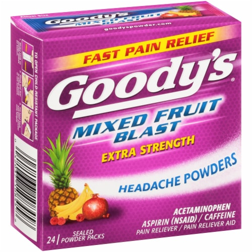 Goody's Mixed Fruit Blast Extra Strength Headache Powder Packs 24 Count Perspective: left