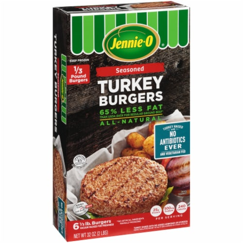 Jennie-O Seasoned Turkey Burgers 6 Count Perspective: left