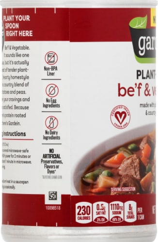 Gardein Plant-Based Be'f and Country Vegetable Soup Perspective: left