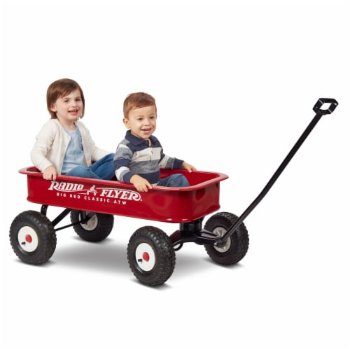 Radio Flyer 1800 Big Red Classic Extra Long Handle All Terrain Wheels Kids Wagon Perspective: left