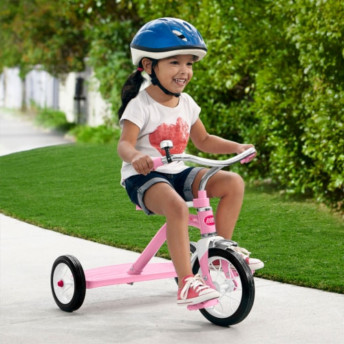 Radio Flyer 34GX Kids Classic Steel Framed Tricycle with Handlebar Bell, Pink Perspective: left
