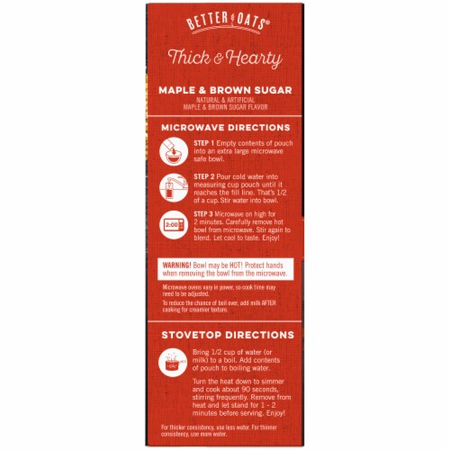 Better Oats Thick & Hearty Maple & Brown Sugar Instant Oatmeal Perspective: left