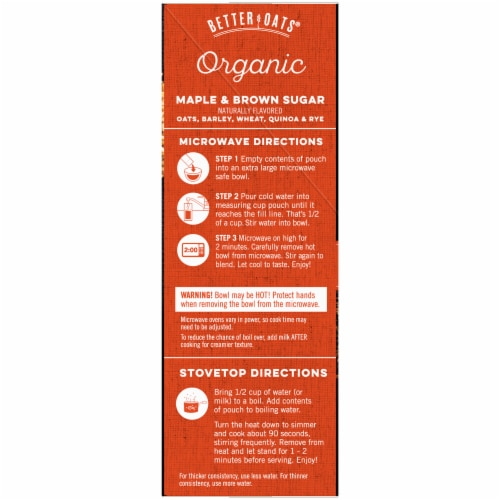 Better Oats Organic Maple & Brown Sugar Instant Multigrain Hot Cereal with Flax Perspective: left