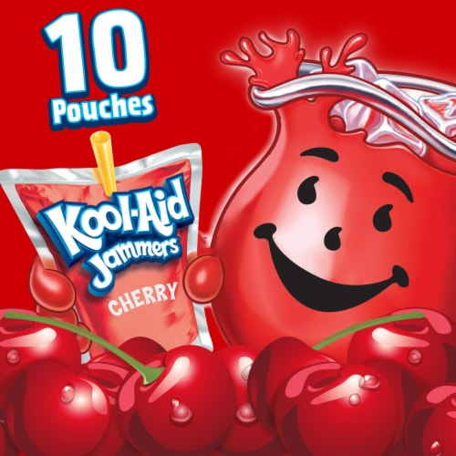 Kool-Aid Jammers Cherry Flavored Drink Pouches Perspective: left