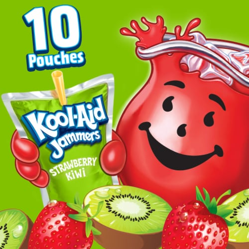 Kool-Aid Jammers Strawberry Kiwi Flavored Drink Pouches Perspective: left