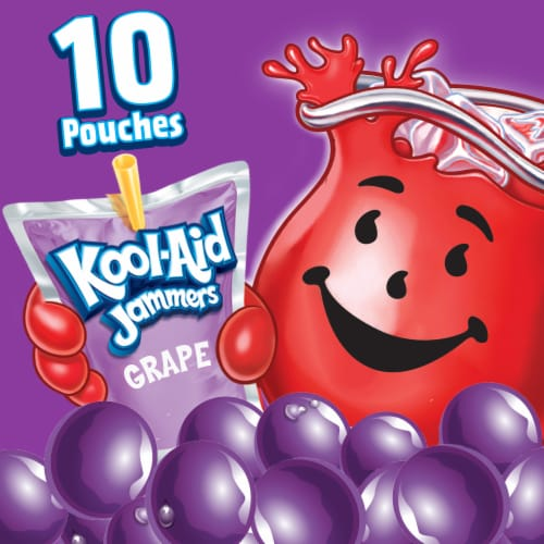 Kool-Aid Jammers Grape Flavored Drink Pouches Perspective: left