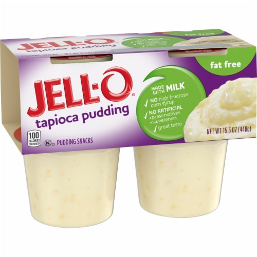 Jell-O Ready-to-Eat Fat Free Tapioca Pudding Snacks Perspective: left