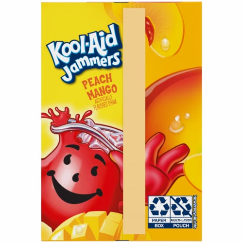 Kool-Aid Jammers Peach Mango Drink Pouches Perspective: left