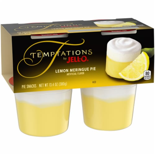 Jell-O Temptations Lemon Meringue Pie Pudding Snack Cups Perspective: left