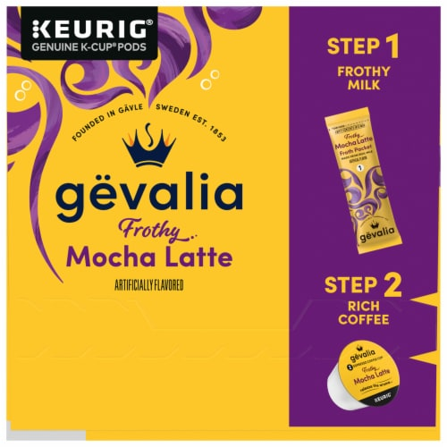 Gevalia Mocha Latte Espresso Coffee K-Cup Pods & Froth Packets Perspective: left