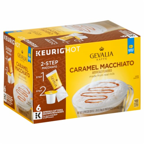 Gevalia Caramel Macchiato K-Cup Espresso Pods with Macchiato Froth Packets Perspective: left