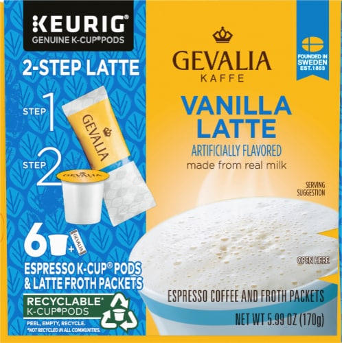 Gevalia Vanilla Latte Espresso K-Cup Pods & Froth Packets Perspective: left