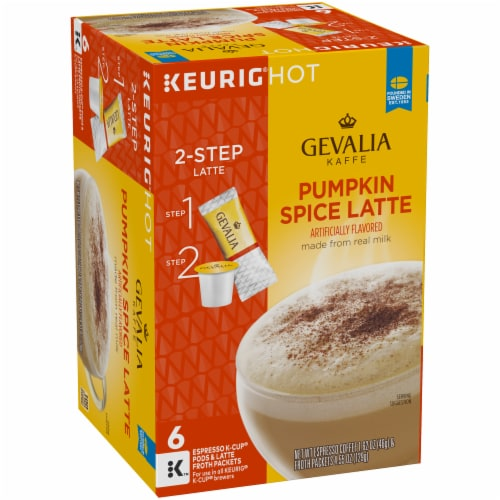 Gevalia Pumpkin Spice Latte Espresso Coffee K-Cup Pods & Froth Packets Perspective: left