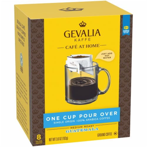 Gevalia One Cup Pour Over Guatamala Ground Coffee Filters Perspective: left