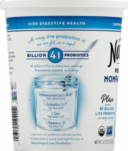 Nancy's Organic Probiotic Nonfat Plain Yogurt Perspective: left