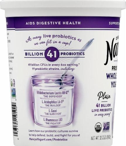 Nancy's Organic Probiotic Whole Milk Plain Yogurt Perspective: left
