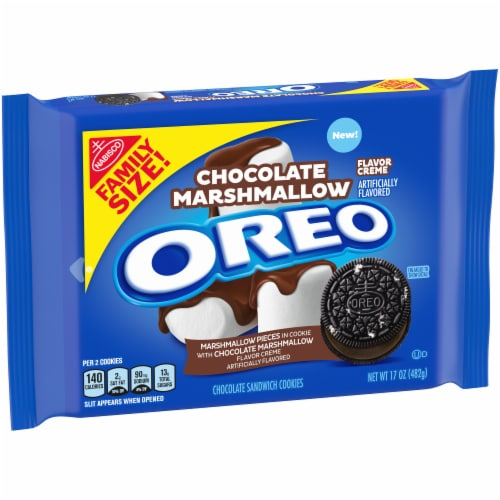 Oreo Chocolate Marshmallow Flavor Creme Chocolate Sandwich Cookies Perspective: left