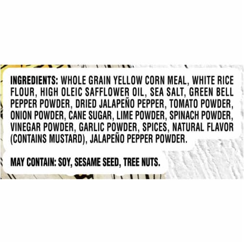 Good Thins Gluten Free Corn Lime and Jalapeno Flavored Corn and Rice Snacks Perspective: left