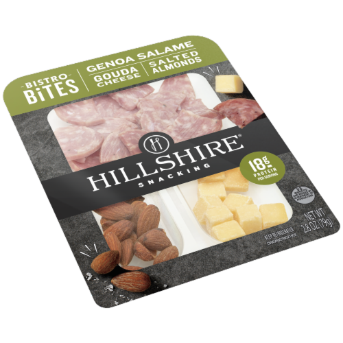 Hillshire Farm Snacking Bistro Bites Genoa Salame Gouda Cheese and Salted Almonds Perspective: left