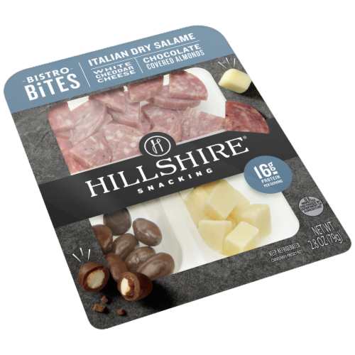Hillshire Farm Snacking Bistro Bites Italian Salame White Cheddar Cheese Chocolate Covered Almonds Perspective: left
