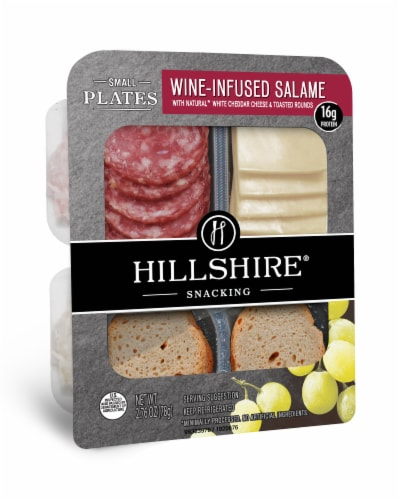 Hillshire Snacking Small Plates Wine-Infused Salame with White Cheddar Cheese Perspective: left