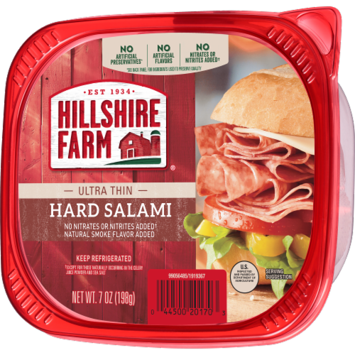 Hillshire Farm Ultra Thin Uncured Hard Salami Lunch Meat Perspective: left