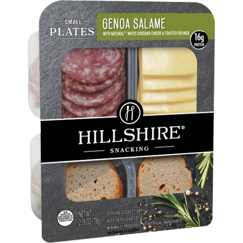 Hillshire Snacking Small Plates Genoa Salame and White Cheddar Cheese Perspective: left