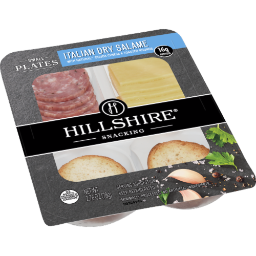 Hillshire Snacking Small Plates Italian Dry Salame and Gouda Cheese Perspective: left