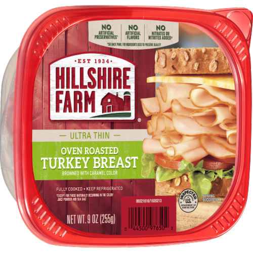 Hillshire Farm Ultra Thin Sliced Oven Roasted Turkey Breast Lunch Meat Perspective: left