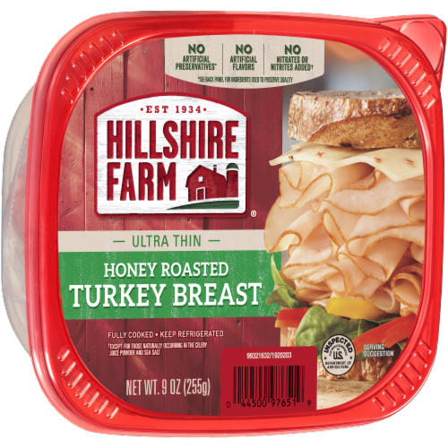 Hillshire Farm Ultra Thin Sliced Honey Roasted Turkey Breast Lunch Meat Perspective: left