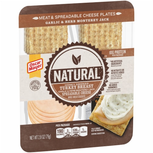 Oscar Mayer Natural Honey Smoked Turkey Breast Meat & Spreadable Cheese Perspective: left