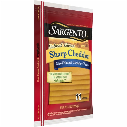 Sargento Natural Sharp Cheddar Cheese Slices Perspective: left