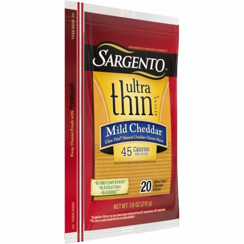 Sargento Ultra Thin Mild Cheddar Cheese Slices 20 Count Perspective: left