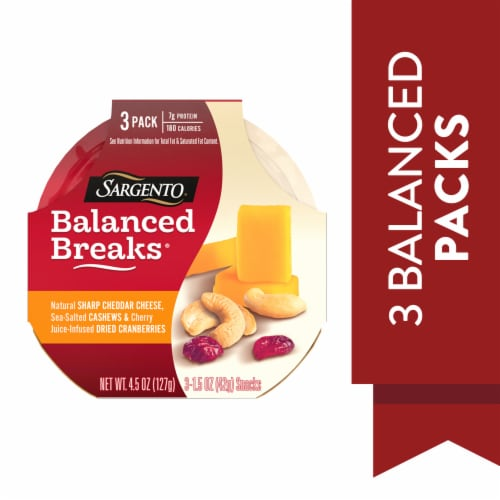 Sargento Balanced Breaks Sharp Cheddar Cashews & Dried Cranberries Perspective: left
