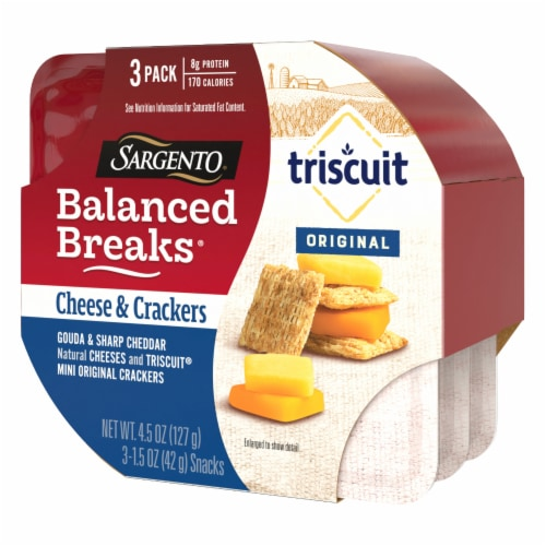 Sargento® Balanced Breaks® Gouda and Sharp Cheddar Cheese with Mini Triscuit Crackers Perspective: left