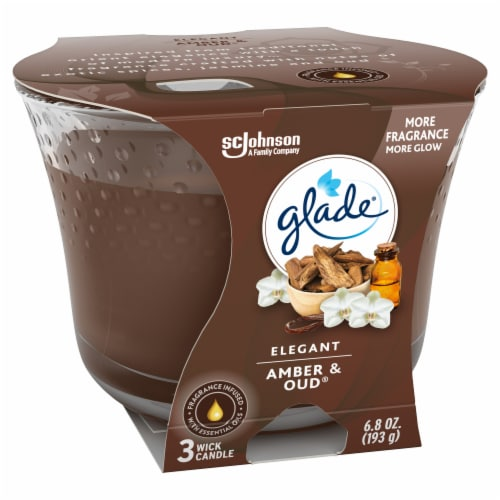Glade Elegant Amber & Oud 3 Wick Scented Candle Perspective: left