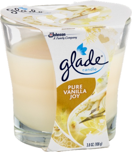 Glade  Cream  Pure Vanilla Joy Scent Jar  Air Freshener Candle  3-1/16 in. H x 3-1/4 in. Dia. Perspective: left