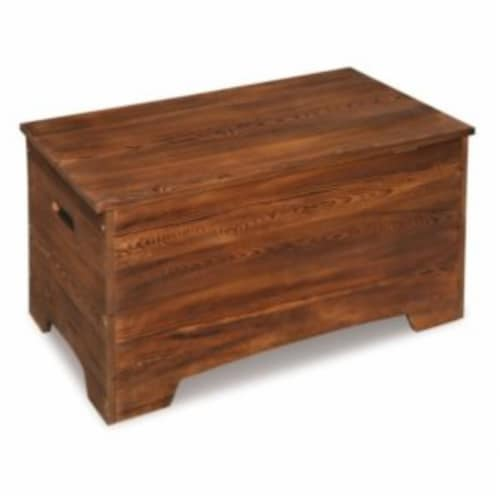 Solid Wood Rustic Toy Box - Caramel Brown Perspective: left
